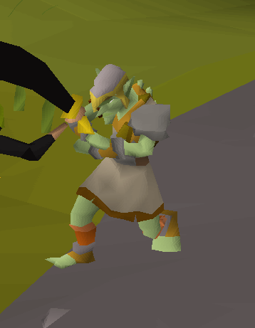 Goblin using his silly martial arts to block a scimitar blow with just his arms...