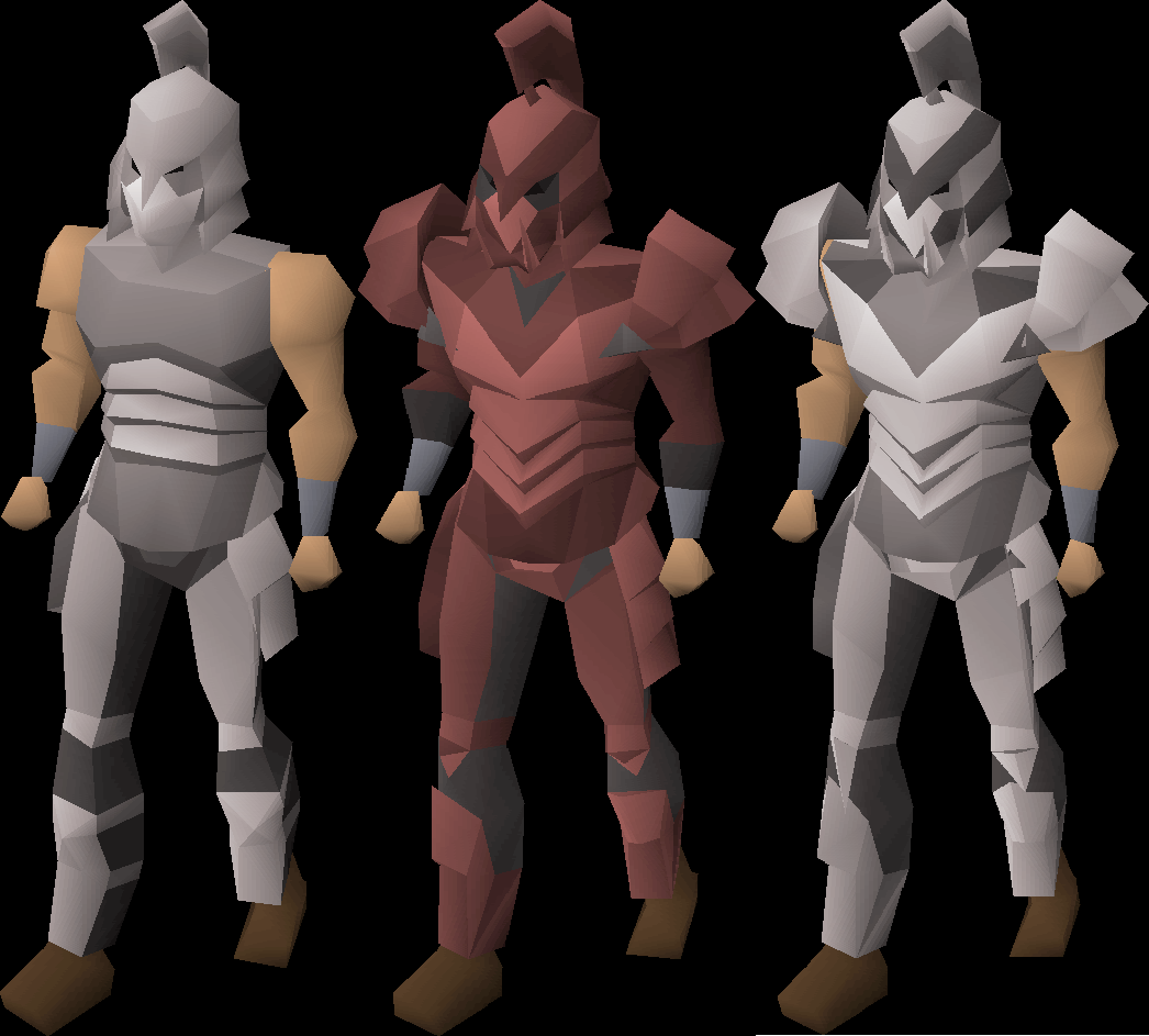 Left to right: ironman, hardcore ironman and ultimate ironman in full armour about to do some heavy damage!