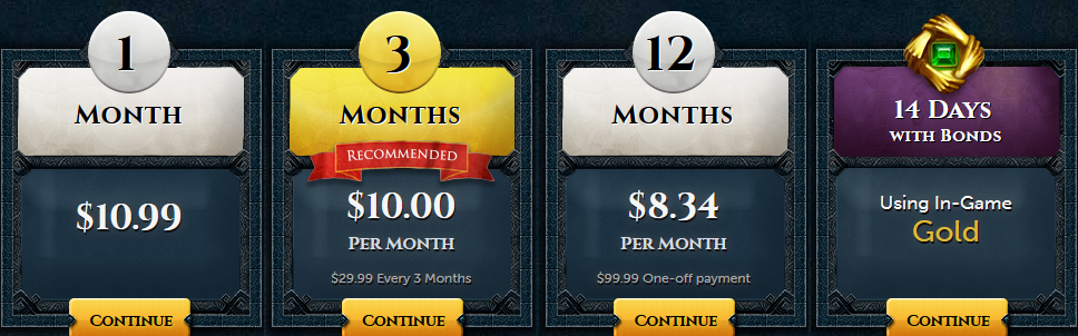 RuneScape membership packages