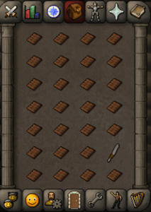 osrs inventory of chocolate bars and knife