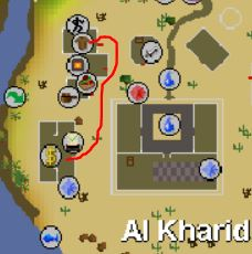 osrs map of al kharid bank and tan spot