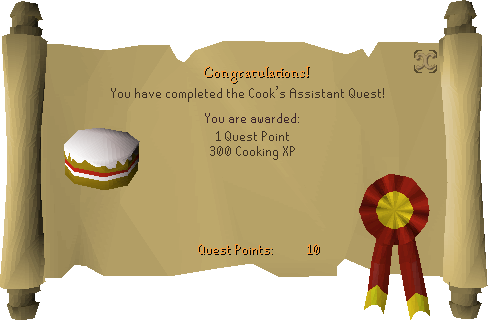 Ah, Cook's Assistan quest... One of the easiest ones, also giving you the taste of that addictive feeling of achievement... One of many to come