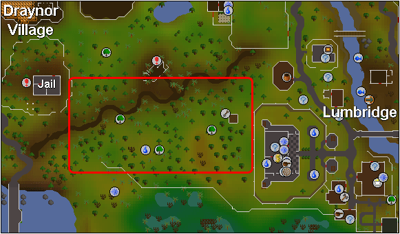 osrs map of lumbridge yew trees spot