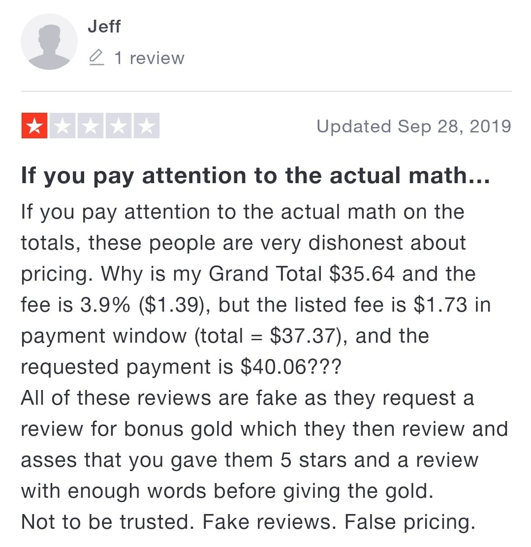One of Rsgoldmine customers explained how much fees they charge in his legit review