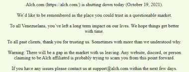 Alch.com - what happened? Learn why they shut down
